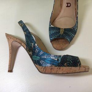 Satin Peep Toe Sling Back w Cork, Size 8.5 in Blue